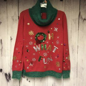 Ugly Christmas Sweater Large Jingle Bells Oh What